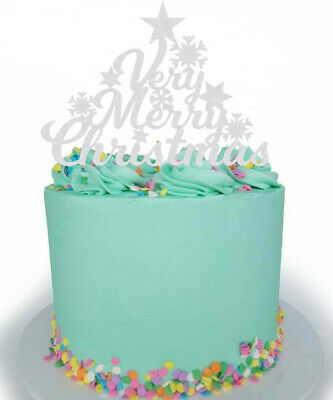 £2.49 • Buy Very Merry Christmas Snow Flake Cake Topper Decoration Glitter Any Colour