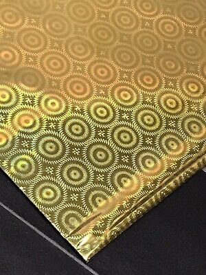 Gold Wrapping Paper Foil Gift Wrap Sheets Sheets Holographic Effect Circles X 10 • 2.99£