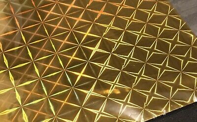 Gold Wrapping Paper Foil Gift Wrap Sheets Sheets Holographic Stars Squares X 10 • 2.99£