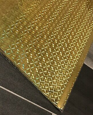 Gold Wrapping Paper Foil Gift Wrap Sheets Sheets Holographic Design Effect  X 10 • 2.99£