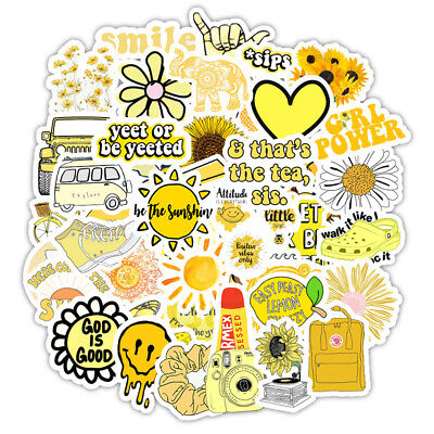 $9.99 • Buy VSCO Yellow Stickers Cute Laptop Water Bottles Hydro Flask Decal For Teens Girls