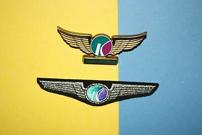 2 Kiwi International Airlines Captain Hat Badge Patch Jr Pilot Kiddie Wings Lot • 16.95$