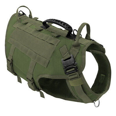 AU53.99 • Buy Heavy Duty Nylon Dog Harness K9 Molle Canine Working Large Vest & Handle Green