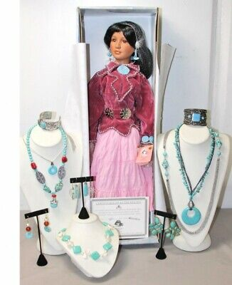 $ CDN108.25 • Buy A21 Native American Indian Porcelain Doll Costume Turquoise Fashion Jewelry Lot