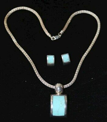 $ CDN126.22 • Buy A21 925 Sterling Silver Real Turquoise Gemstone Necklace Earring Jewelry Lot GWP