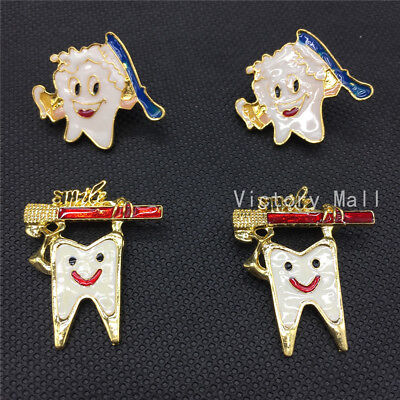 Dental Clinic Gift Metal Tooth Type Shape Molar Brooch Cartoon High Quality • 4.91£