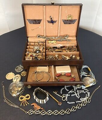 $ CDN88.64 • Buy Jewelry Box Full Of Vintage To Modern Jewelry Lot Estate Buxton Jewelry Box