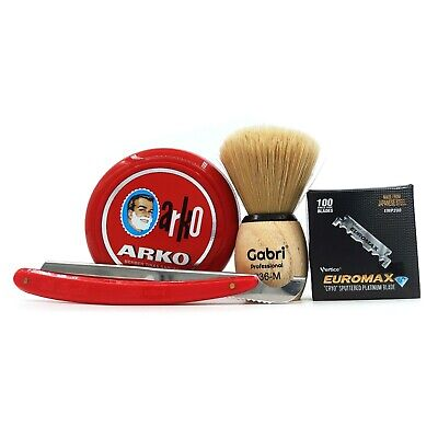 Turkish Razor Shaving Set: Gabri Shaving Brush, 100 Euromax Blades & Arko Soap • 13.99£