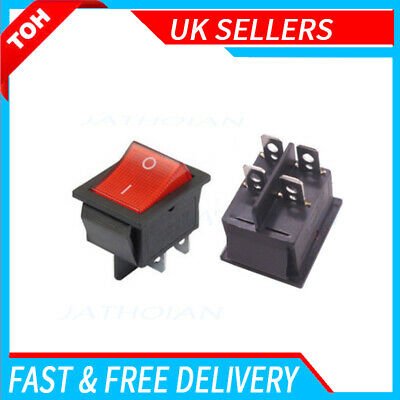 £2.76 • Buy 1X CAR Rocker Switch 240V Mains Red ON / OFF Double Pole 4 Pin DPST