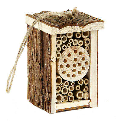 £7.99 • Buy Small Wooden Insect Hotel Eco Friendly House Natural For Bee Butterfly 16.5cm