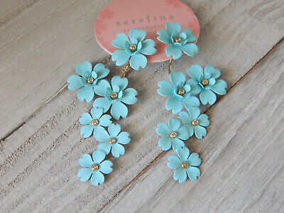 $ CDN59.94 • Buy Earrings Floral Cherry Blossom Blue Anthropologie Front Back 2 Way Dangle New$58