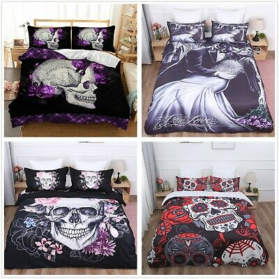 Skull Duvet Quilt Cover Gothic 3D Bedding Set Pillowcases Single Double King Hot • 22.99£