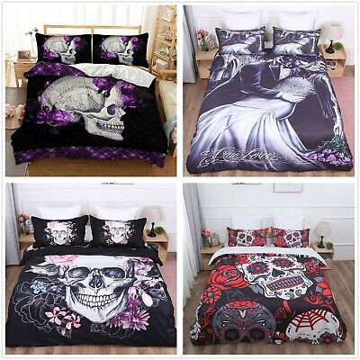Skull Duvet Quilt Cover Gothic 3D Bedding Set Pillowcases Single Double King Hot • 21.84£