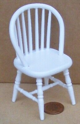 $4.95 • Buy 1:12 Scale White Painted Wooden Single Spindle Back Chair Tumdee Dolls House V49