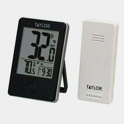 $19.99 • Buy Taylor Wireless Indoor/Outdoor THERMOMETER Sensor Digital LCD Black Plastic 1730