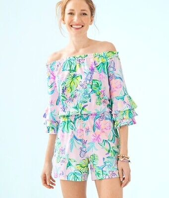 $99 • Buy NWT Lilly Pulitzer Calla Romper Amethyst Tint Mermaid In The  Shade Size S