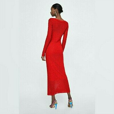 $24.90 • Buy ZARA Long Maxi Red Dress Knit Size Small