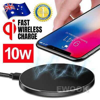 AU9.85 • Buy Qi Wireless Charger FAST Charging Pad Receiver For IPhone 11 XS XR 8 Samsung S9