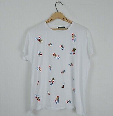 $21.59 • Buy Zara Womens Size XL White Embroidered Flower Short Sleeve Boxy Tee Floral