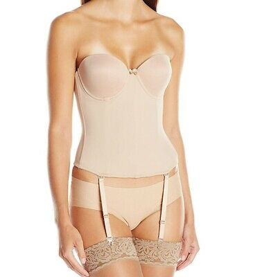 Va Bien Women's Beige USA 34D Ultra Lift Low Back Strapless Bustier $79 #379 • 27.99£