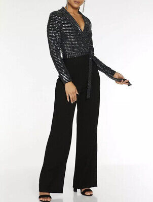Ex Quiz Gunmetal /silver Long Sleeve Belted Jumpsuit. Size-18 • 25£