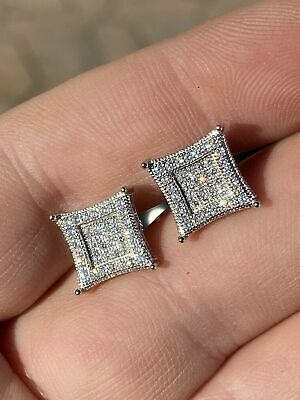 $23.38 • Buy Mens Real 925 Solid Sterling Silver Iced Kite Diamond Earrings Studs 10mm HipHop