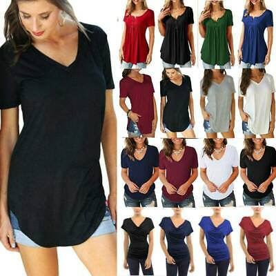 AU14.72 • Buy Womens Lady Plus Size Longline Blouse Short Sleeve Loose TShirt Solid Tunic Tops