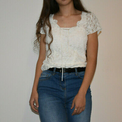 Per Una Lace Floral Detail Top With String Ties UK Size 12 • 14.50£