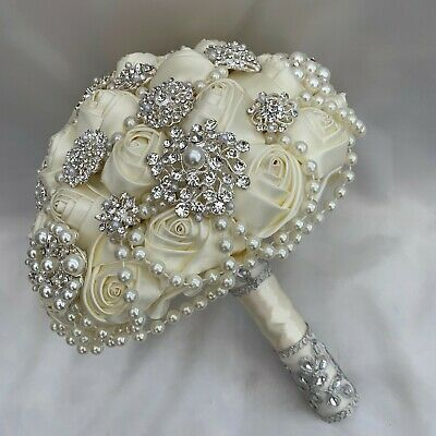 Brides Brooch Bouquet, Ivory And Silver, Satin Roses, Artificial Wedding Flowers • 139.95£