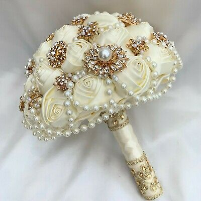 Brides Brooch Bouquet, Ivory And Gold, Satin Roses, Artificial Wedding Flowers • 139.95£