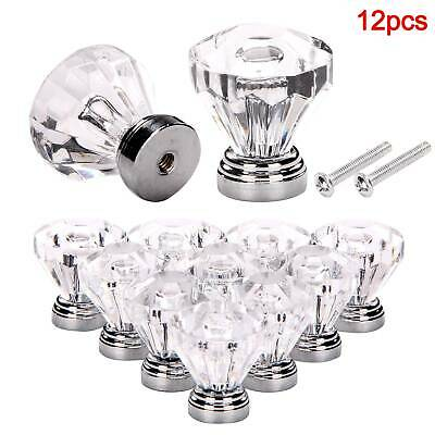 New 12x Clear Diamond Crystal Glass Door Knobs Drawer Wardrobe Cabinet Handles • 6.59£