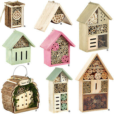 £8.99 • Buy Insect Wooden Hotel Natural House Home Bees Bugs And Insects Nesting Box Garden
