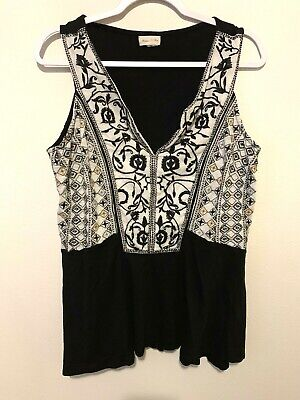 $ CDN24.39 • Buy Anthropologie Meadow Rue Womens Medium Boho Floral Embroidered Tank Top Blouse