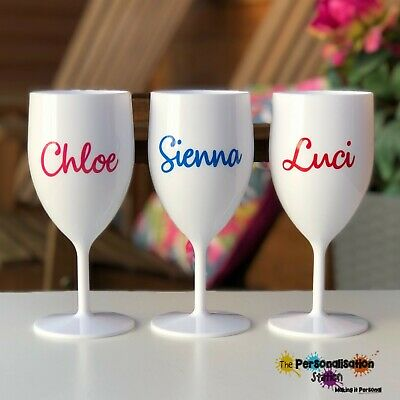 £6.50 • Buy  Personalised, Plastic Wine Proseco Glass Hen, Birthdays,Party More Colours Too!