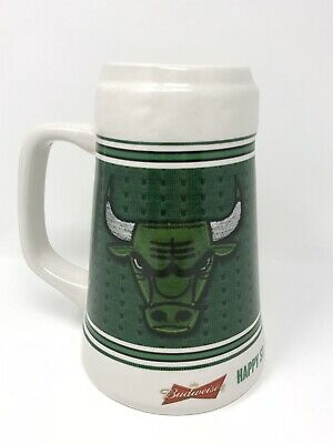 "$ CDN12 • Buy Budweiser ""Happy St Patrick's Day"" NBA Chicago Bulls Green Ceramic Beer Stein"