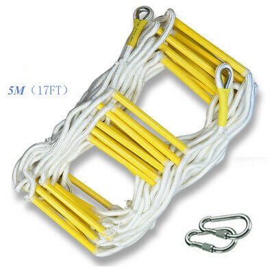 5M Rescue Rope Ladder 17FT Escape Ladder Emergency Work Safety Response Fire • 69.46£