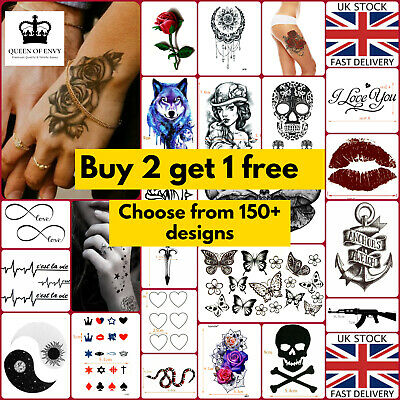 120+ DESIGNS Temporary Waterproof Tattoo Body Women Mens Kids False Fake Sticker • 2.05£