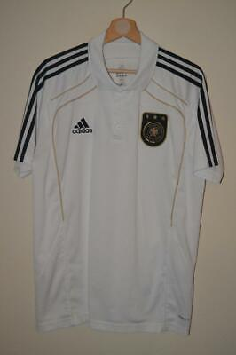 Retro White Adidas Germany 2011 Polo Shirt T-shirt Mens Uk 44/46 • 10.63£