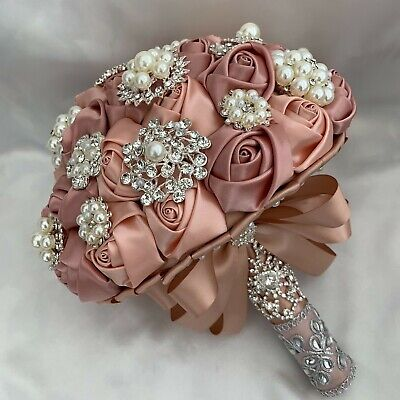 Brides Brooch Bouquet, Champagne Rose Gold Satin Rose Artificial Wedding Flowers • 155.95£