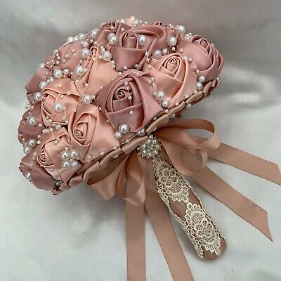 Brides Brooch Bouquet, Champagne, Rose Gold, Satin, Artificial Wedding Flowers.  • 99.95£