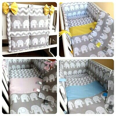 CRIB OR COT OR COT BEDDING SET , GREY ELEPHANT ZIG-ZAG 100%COTTON  Made To Order • 24£