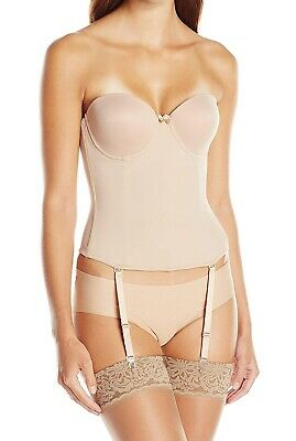 Va Bien Womens Bustier Nude Beige USA 38C Low Back Hook & Eye Underwire $79 451 • 33.99£