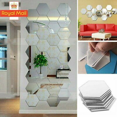 3D Mirror Tiles Mosaic Wall Stickers Self Adhesive Bedroom Art Decals Home Decor • 6.99£