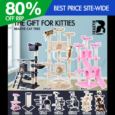 AU104.95 • Buy BEASTIE Cat Tree Scratching Post Scratcher Tower Condo House Furniture Bed Stand
