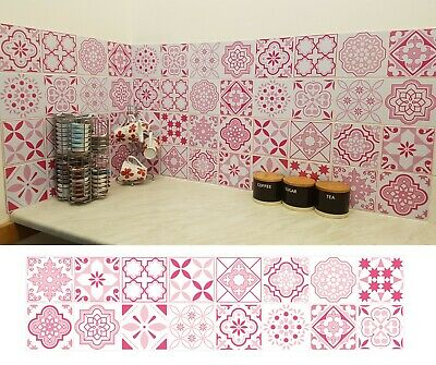Pink Mosaic Tile Stickers For 150mm X 150mm Or 6 Inch Kitchen Bathroom P01 • 8.99£