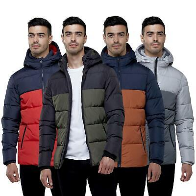 Mens Broken Standard Quilted Padded Colour Block Puffer Hooded Winter Jacket • 34.95£