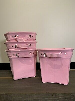 $75 • Buy 4 Pottery Barn KIDS Solid MEDIUM Canvas Storage Bucket Bin Basket Carnation Pink
