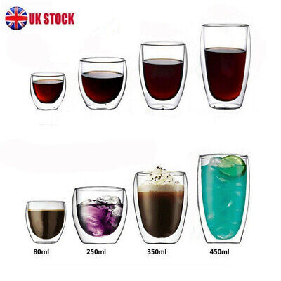 1/2/4/6 Pcs Thermal Coffee Tumblers Double Walled Insulated Cappuccino UK HOT • 7.92£