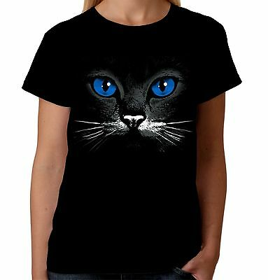 £10.25 • Buy Velocitee Ladies T-Shirt Blue Eyes Cat Face Fashion Feline Kitty Cute A17601