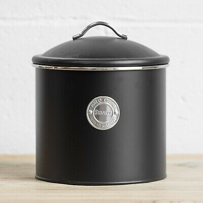 3.5 L Black Air Tight Storage Tin Canister Pasta Flour Biscuit Barrel Sweet Jar • 13.99£